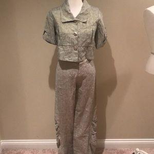 Lundstrom Canada linen gold pants suit 2